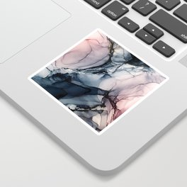 Blush, Navy and Gray Abstract Calm Clouds Sticker