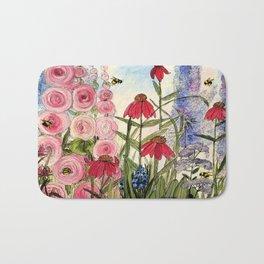 Contemporary Cottage Garden Flower Painting  Bath Mat