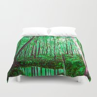 the office Duvet Covers featuring Green Office by sky愛