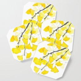 Golden Ginkgo Leaves Coaster