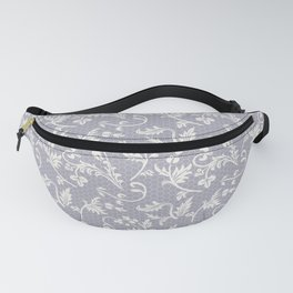 Beautiful Elegant Floral Gray & White Lace Fanny Pack