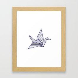 Swan, navy lines Framed Art Print