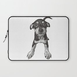 Cute playful puppy wagging it's tail. Laptop Sleeve