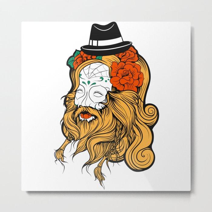 Bearded Women Girl Metal Print