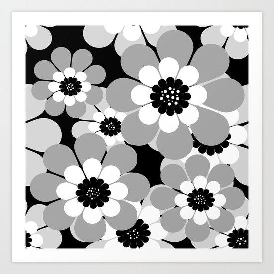 The floral pattern . black, grey , white . Art Print
