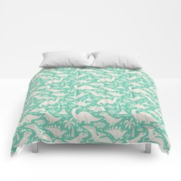 Delightful Dinos (teal) Comforters