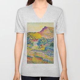 Henri-Edmond Cross Neo-Impressionism Landschaft mit Le Cap Nègre Paysage avec le cap Nègre Unisex V-Neck