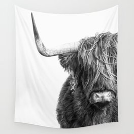 Highland Cow Portrait - Black and White Wall Tapestry