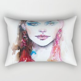Woman with pink earrings Rectangular Pillow