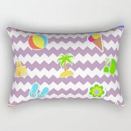 Summertime Girly Beach Pattern | Kids Pink Chevron Pop Art Rectangular Pillow