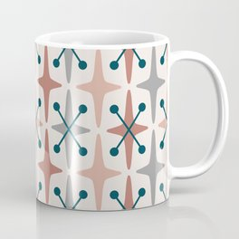 Mid Century Modern Abstract Star Pattern 223 Teal Brown Dusty Rose and Gray Coffee Mug