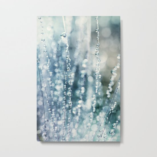 Blue Grass Drops Metal Print