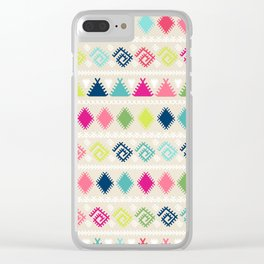 Vintage white faux leather colorful aztec tribal Clear iPhone Case