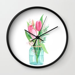 tulips in the jar Wall Clock