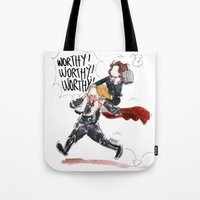 peggy carter Tote Bags featuring PEGGY CARTER IS WORTHY. by Maryne.