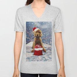Christmas Golden Doodle Unisex V-Neck