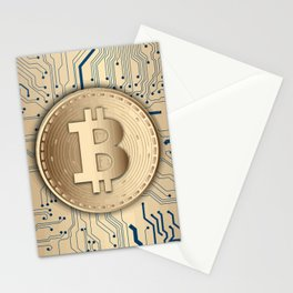 Bitcoin money gold Stationery Cards