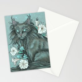 Maine Coon Cat and Moonflowers Stationery Cards
