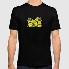 Summer flower in yellow Black MEDIUM Mens Fitted Tee