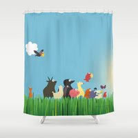 What's going on the farm? Kids collection Shower Curtain
