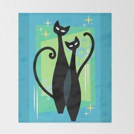 Sassy Sparkling Atomic Age Black Kitschy Cats Throw Blanket