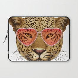 Leopard in Love! Portrait of Leopard with sunglasses. Laptop Sleeve