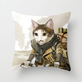 Rider Cat Throw Pillow