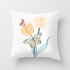 Butterflies and Tulips III Throw Pillow