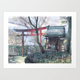 Shiratamainari shrine in watercolours Art Print
