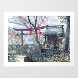 Shiratamainari shrine in watercolours Art Print