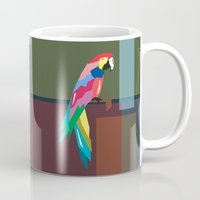 parrot Mugs featuring parrot by mark ashkenazi