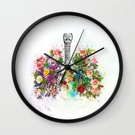 Flowers Lungs Skeleton Watercolor Wall Clock