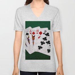 Poker Hand Straight King Queen Jack Ten Nine Unisex V-Neck