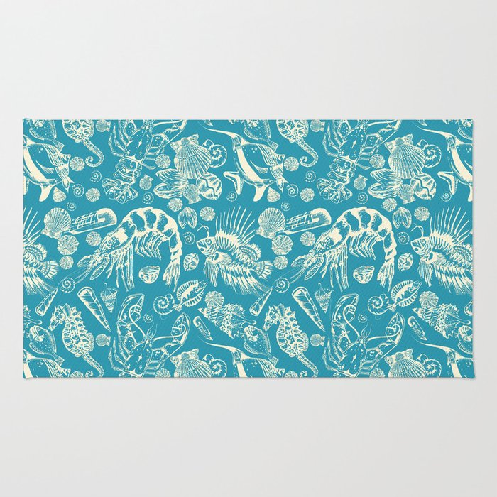 Sea Critters with Blue Background Rug
