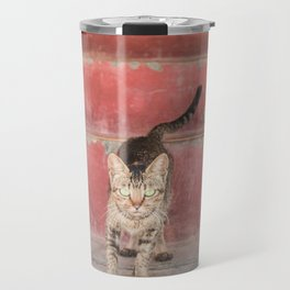 Cat in red stairs Travel Mug
