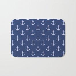 Nautical Blue Anchor Pattern Bath Mat