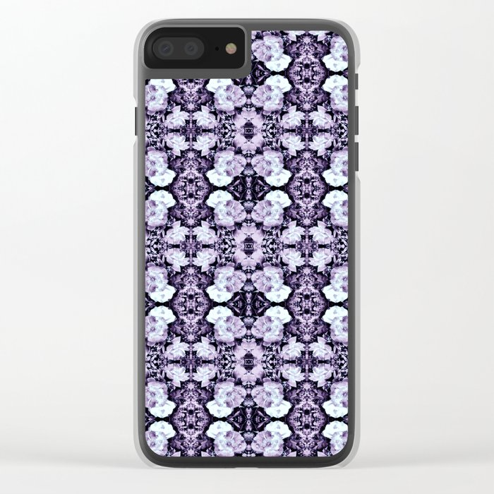 Violet  Roses Seamless Pattern Clear iPhone Case