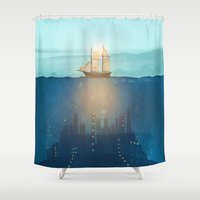 city Shower Curtains featuring The Underwater City by Viviana Gonzalez