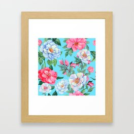 Pink and Blue Floral Print On Aqua Background Framed Art Print