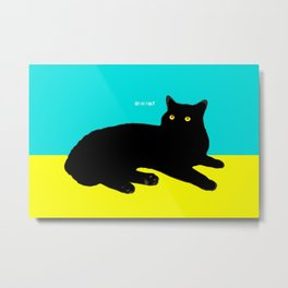 Black Cat on Yellow and Sky Blue Metal Print