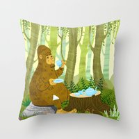 bigfoot Throw Pillows featuring Bigfoot Busted by Tim Paul