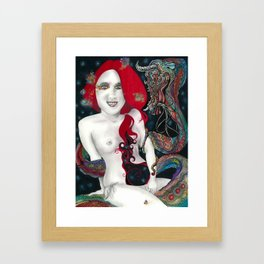 Darlings & Dragons Red, Light, and Blue Framed Art Print