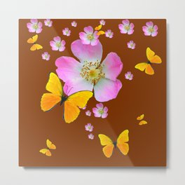 COFFEE BROWN YELLOW BUTTERFLIES & PINK WILD ROSES Metal Print