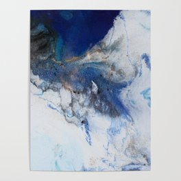 Abstract blue marble Poster