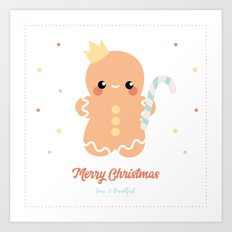 Kawaii Gingerbread Art Print