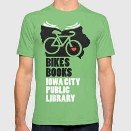 Bikes Books Iowa City Public Library T-shirt