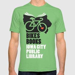 Bikes Books Iowa City Public Library T-shirt