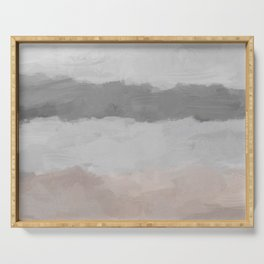 Cloudy Coastal Gray Stormy Beige Sandy Beach Ocean Abstract Nature Painting Art Print Wall Decor  Serving Tray