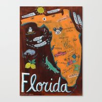 florida Canvas Prints featuring FLORIDA by Christiane Engel