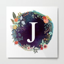 Personalized Monogram Initial Letter J Floral Wreath Artwork Metal Print
